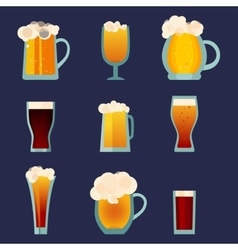 Beer glass cups icons set Beer bottle isolated vector image vector image