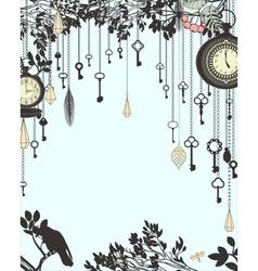 Clock and keys vintage vertical background vector image vector image