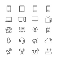 Communication device thin icons vector image