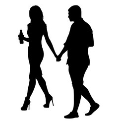 couples man and woman silhouettes on a white vector image vector image