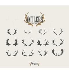 Deer antler icon set vector