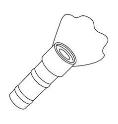 Flashlight icon in outline style isolated on white vector