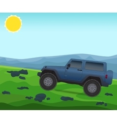 Off road journey car for bad roads vector image
