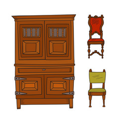 antique furniture set - closet and chairs isolated vector image