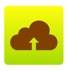 cloud technology sign brown icon at green vector image