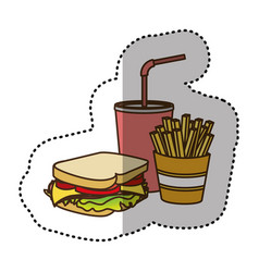 color sandwich soda and fries french icon vector image