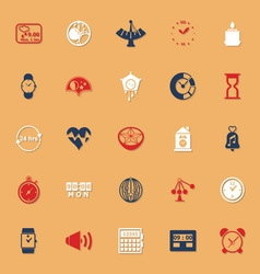 Design time classic color icons with shadow vector image vector image