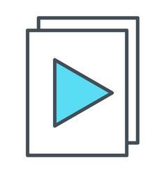 audio or video files with plat button line icon vector image