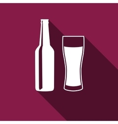 Bottle and glass of beer Icon with long shadow vector image