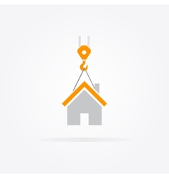 Logo combination of a crane and house vector image