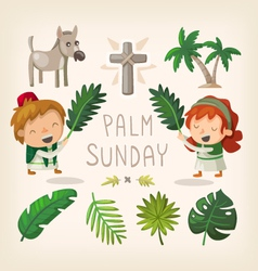 Palm Sunday design elements vector image