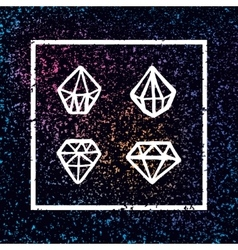 set of hand drawn diamonds in square frame vector image