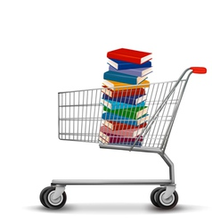 Shopping cart with a stack of books vector image vector image