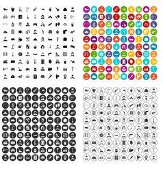 100 working class icons set variant vector