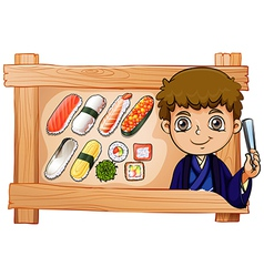 A frame with a boy beside the delectable sushi vector