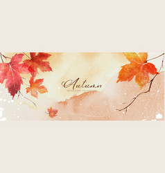 Abstract art autumn background with orange maple vector