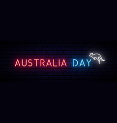 Australia day long banner with neon inscription vector