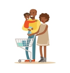 Black Family With Cart Shopping In Department vector