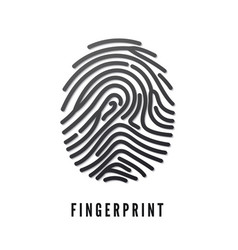black volume fingerprint whit shadow isolated on vector image