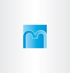 blue square letter m logo design icon vector image