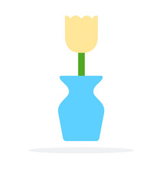 blue vase with a yellow flower flat isolated vector image