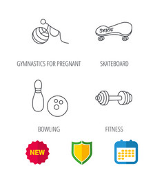 Bowling skateboard and fitness sport icons vector