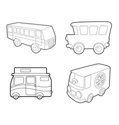 bus icon set outline style vector image