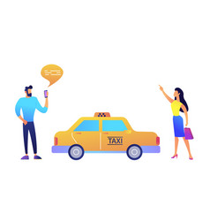 businessman ordering a taxi from smartphone and vector image