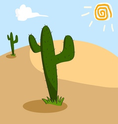 Cactus grows in the arid desert vector