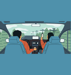 cartoon car interior couple driving during vector image