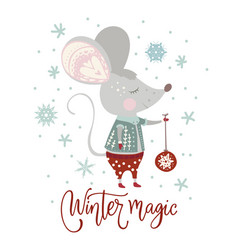 Christmas cartoon mouse in a flat style vector