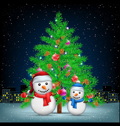 christmas tree snowmans and night city vector image