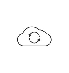 cloud reload line icon simple modern flat for vector image
