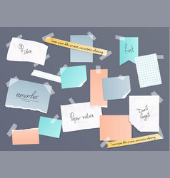 Collection various note papers banner set vector