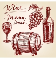 collection wine hand drawn illustration vector image