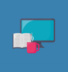 Computer and book icon vector