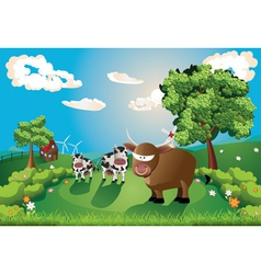 Cows and Bull on Lawn vector image