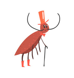 Cute cartoon cricket character wearing a hat and vector