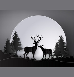 deer in forest with deer in forest with full vector image