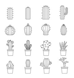Different cactuses icons set outline style vector