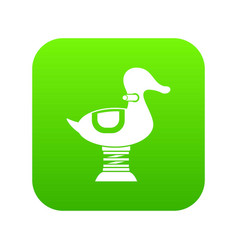 Duck spring see saw icon digital green vector