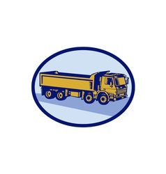DumpTruck Oval Woodcut vector