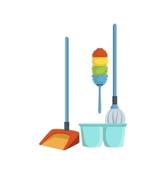 Dusting household equipment set vector