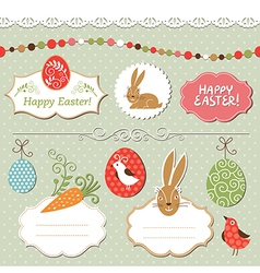 Easter set easter elements vector image