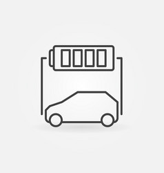 electric car with battery icon in outline vector image