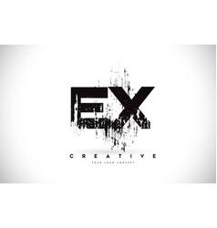 Ex e x grunge brush letter logo design in black vector