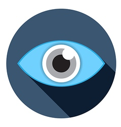 eye flat icon with lobg shadow vector image