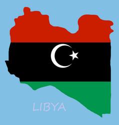 flag map of libya vector image
