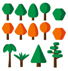 flat style simple tree icons set vector image
