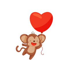 funny brown monkey with bright red balloon in vector image